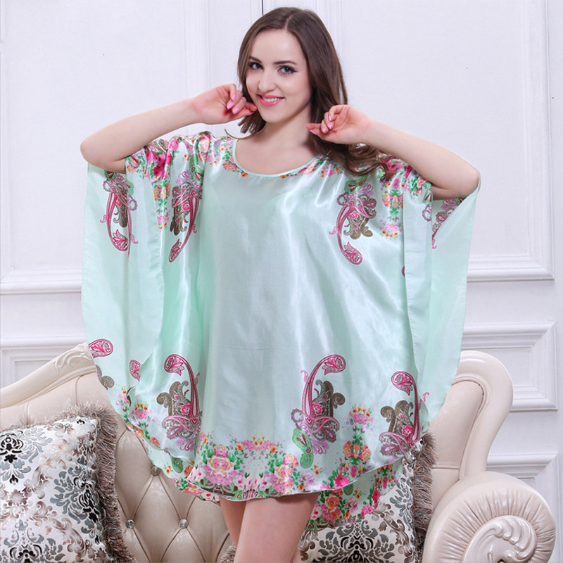 2018 New Plus Size Women Nightgowns Sleepshirts Silk Lady Sleepwear ...