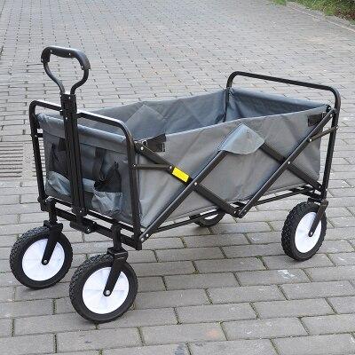 Chariot de main de camp en plein air polyvalent quatre roues chariot de supermarché bivouac boîte à outils de pêche multi-rôle chariot pliant