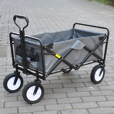 Outdoor camp hand cart multipurpose four wheels supermarket shopping trolley bivouac fishing ToolBox multi role fold cart