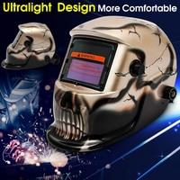 FORGELO Welding Helmets Durble Gold Skull Solar Powered Auto Darkening Welding Grinding Mask Helmet ARC TIG MIG Welding Cap Lens