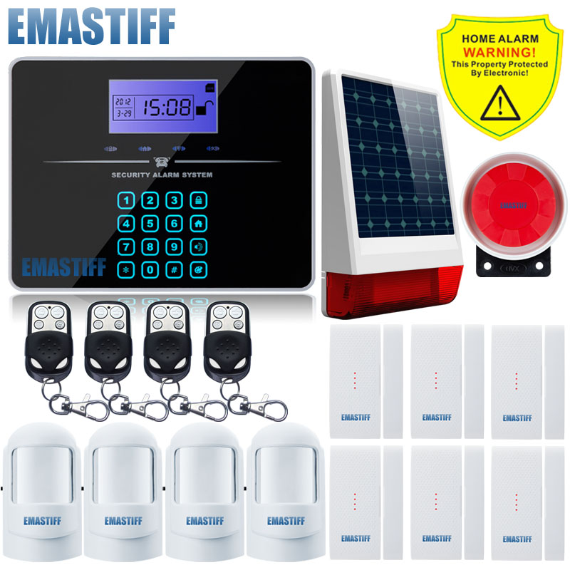 Dual Net GSM PSTN SMS Home Burglar Alarm Security System PIR Sensor Remote Control Auto Dial Wireless Outdoor Flash Solar Siren gsm lcd wireless 433 smart burglar security alarm system detector sensor kit remote control auto dial sms outdoor siren