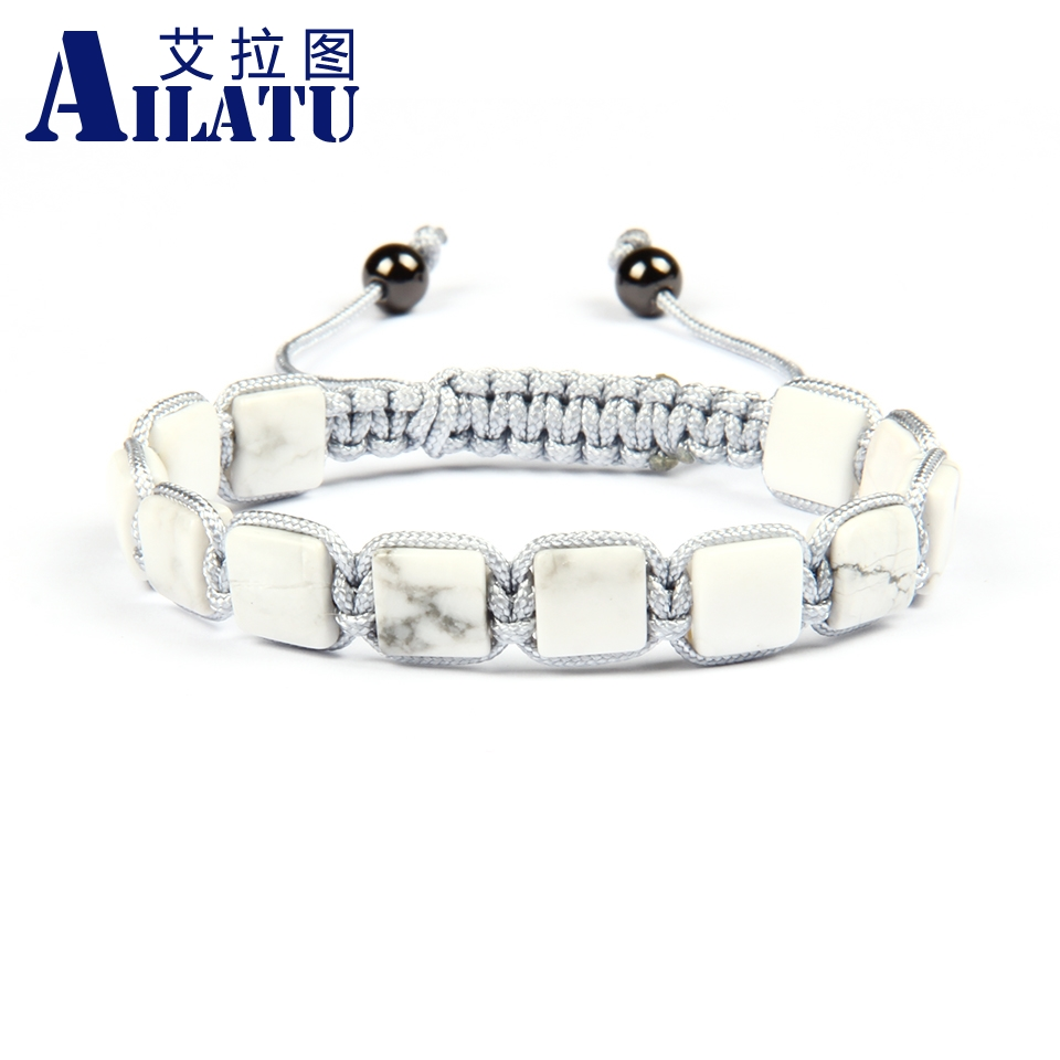 Ailatu Wholesale Men s Luxury Brand Jewelry10pcs lot Top Quality 8x8 White Howlite Marble Stone Cube