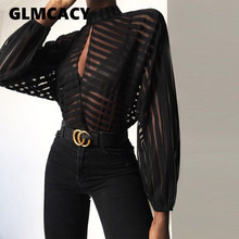 Women Stripes Keyhole Front Mesh Blouse Elegant Basic Black Casual Shirt Female Stylish OL Work Streetwear See Through Shirt