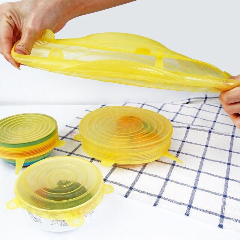 6 pièces de silicium Réutilisable couvercles extensibles couvercle universel En Silicone alimentaire bol pot couvercle couvercle en silicone casserole cuisson Cuisine Bouchons
