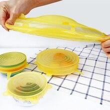 Tapas de silicona reutilizables de 6 uds. Tapa universal de silicona para envolver los alimentos
