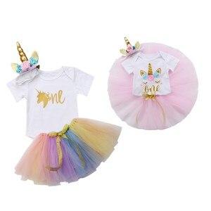 Праздничный костюм с цветочным рисунком для новорожденных девочек на 1 день рождения летний костюм, комплект из 2 предметов, Детский комбине...