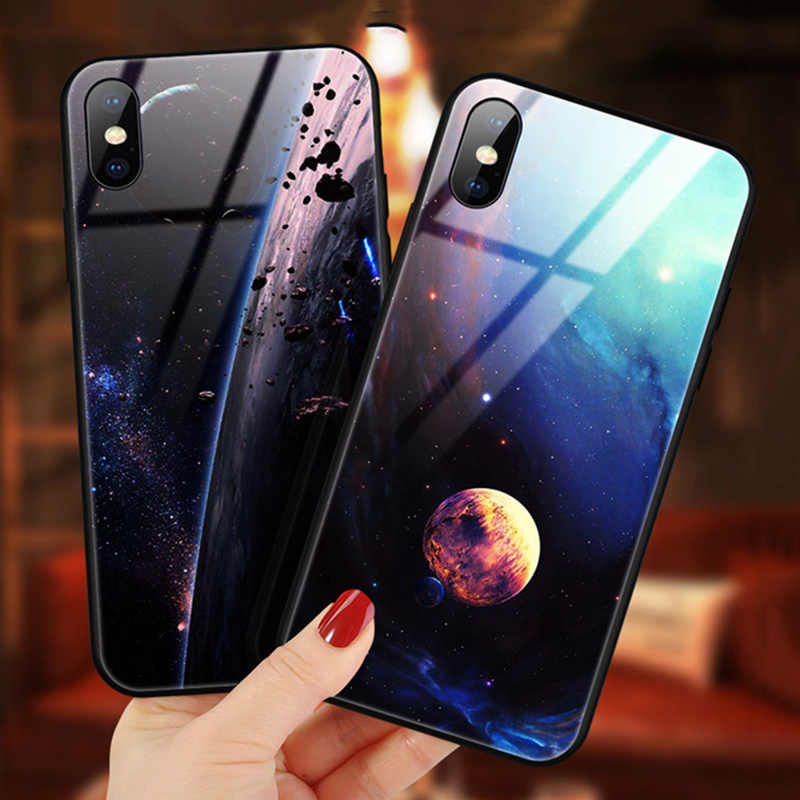 Glas Telefoon Case Voor iPhone 11X7 8 10 6 s XS Star Space Cover Case Voor iPhone 8 7 6 6 s Plus X Shockproof Case Silicone Coque 6