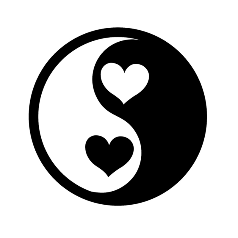Ying And Yang Heart Love Peace Reflective Vinyl Sticker Decal For Car Truck Window Bumper LAPTOP reflective material heart paw vinyl decal car truck sticker laptop boat truck auto bumper wall graphic sticker decoration