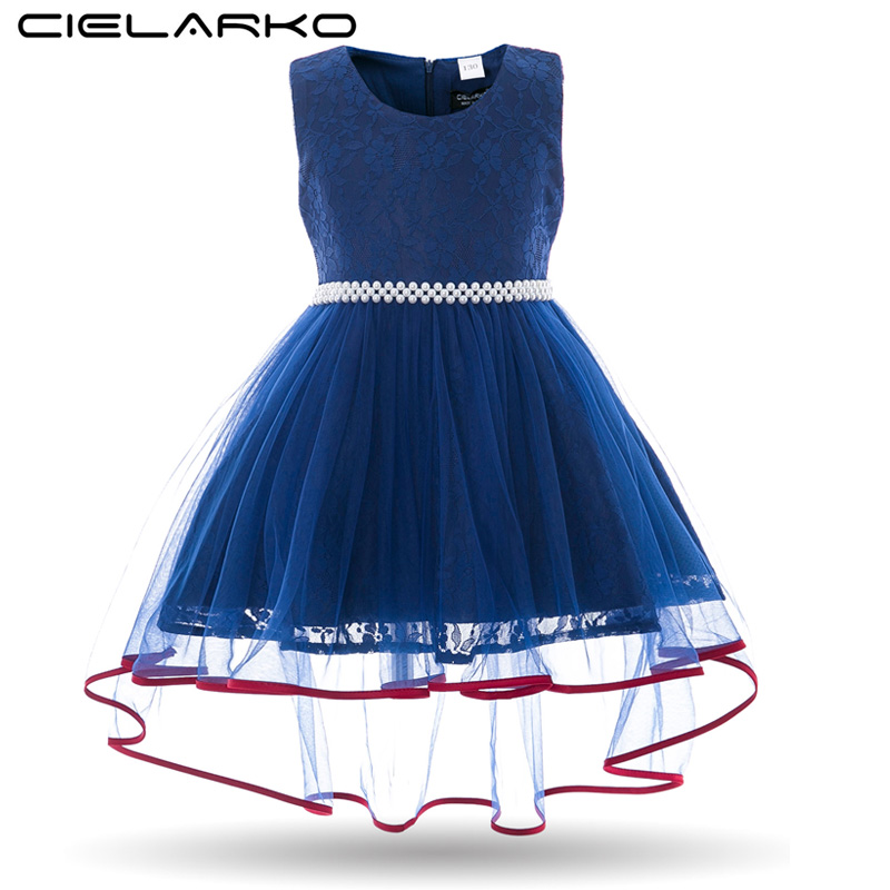 Cielarko Lace Girls Dress Pearls Beading Children Ball Gowns Evening Kids Wedding Party Dresses Tulle Frocks for Girl 2-8 Years gorgeous lace beading sequins sleeveless flower girl dress champagne lace up keyhole back kids tulle pageant ball gowns for prom