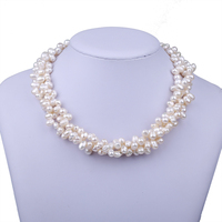 Multilayer Real Natural Rice Shaped Freshwater Pearl Chokers Necklaces Femme India Wedding Bridal Jewelry Necklaces For
