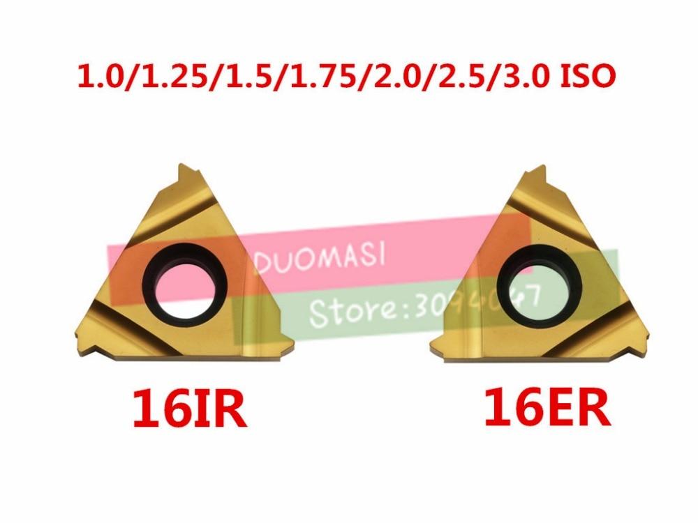 Купить с кэшбэком 10PCS 16ER 16IR 16 ER IR 1.0/1.25/1.5/1.75/2.0/2.5/3.0 ISO,Indexable Tungsten Carbide Threading Lathe Inserts internal Metric