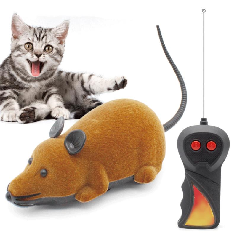 Funny Flocking Abs Wireless Rc Electric Rc Flocking Rat Mice Toy Remote Control Mouse For Pet Cat Kitten Playing Toy Kids Toys