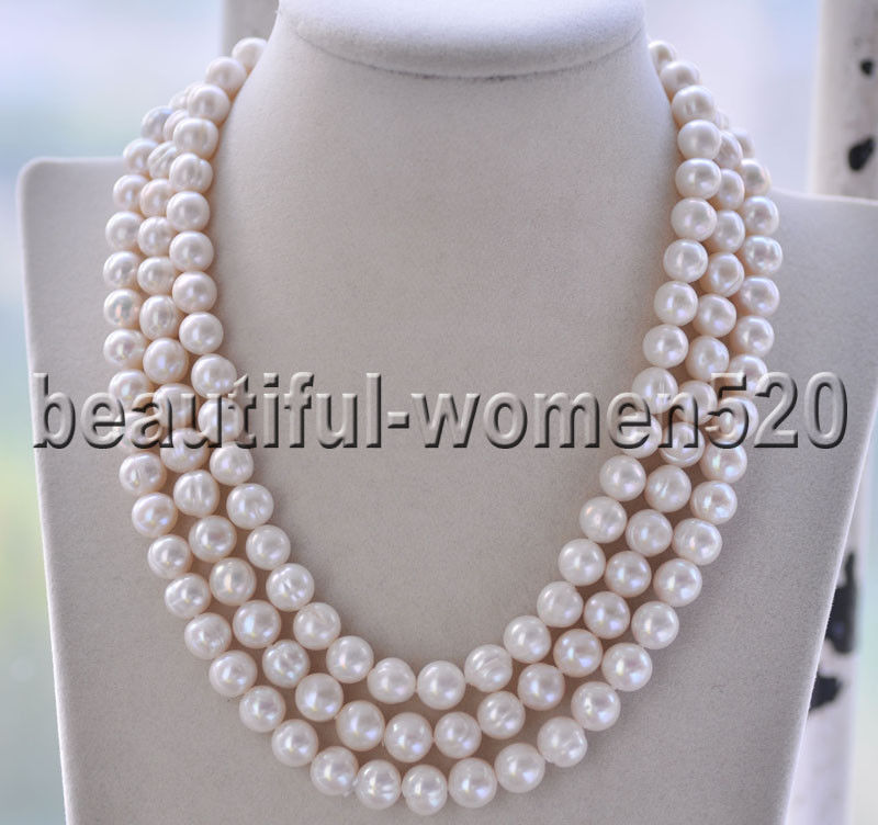 Z8716 3Strds 10mm White Round Freshwater PEARL NECKLACE 18inchZ8716 3Strds 10mm White Round Freshwater PEARL NECKLACE 18inch