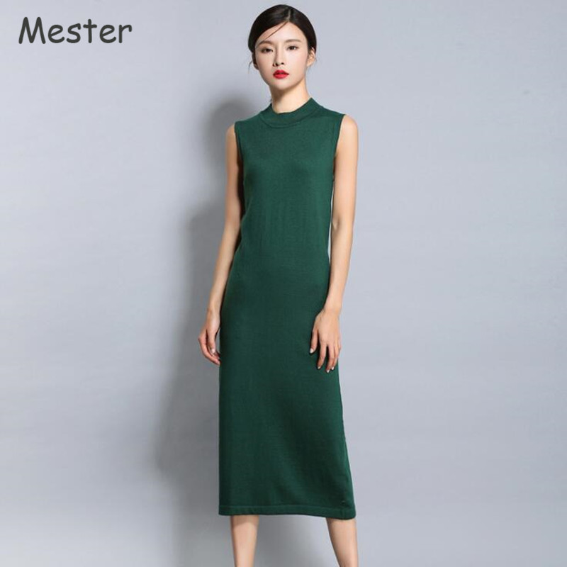2017 Summer Women O neck Sleeveless Sweater Dress Casual Knitted Tank Dress Fashion Black Green Vintage Long Wool Pencil Dresses