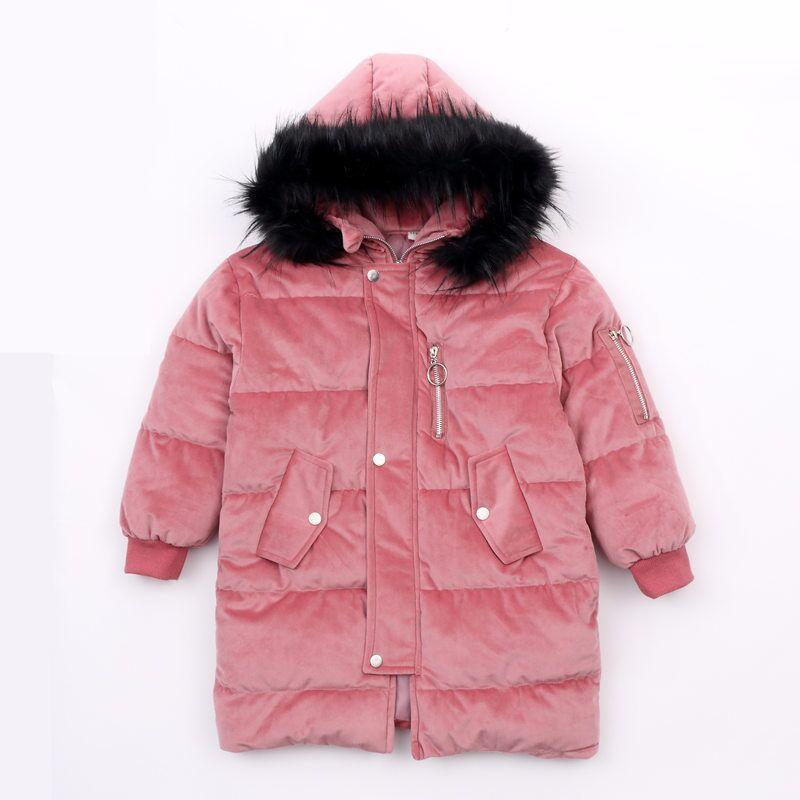 Filles hiver manteau velours Parkas veste en laine 2018 nouvelle mode grand col en fourrure coton veste matelassée 120-160 de haute qualité