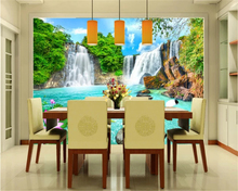 beibehang Custom size fashion silky wallpaper landscape waterfall bedroom living room background wall papers home decor