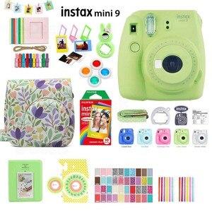 Image 5 - Fujifilm Instax Mini 9 cámara de fotos instantáneas, 5 colores, película arcoíris, Kit de accesorios, funda de PU, álbum, filtro de lente, pegatinas, Marco