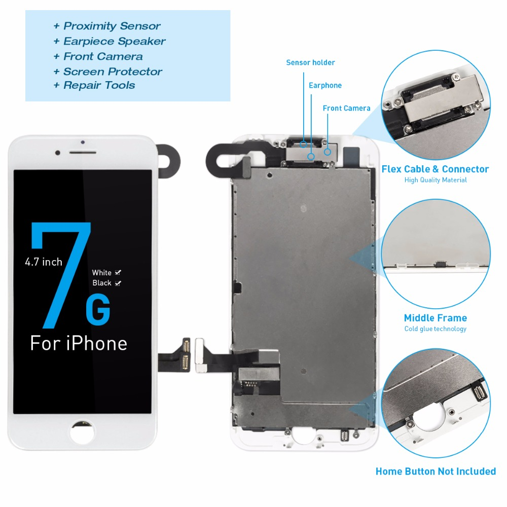 Full LCD Assembly For IPhone 7 OEM Display 3D Touch Digitizer For IPhone 7 8 Plus LCD Screen With Camera Speaker + Free Gifts