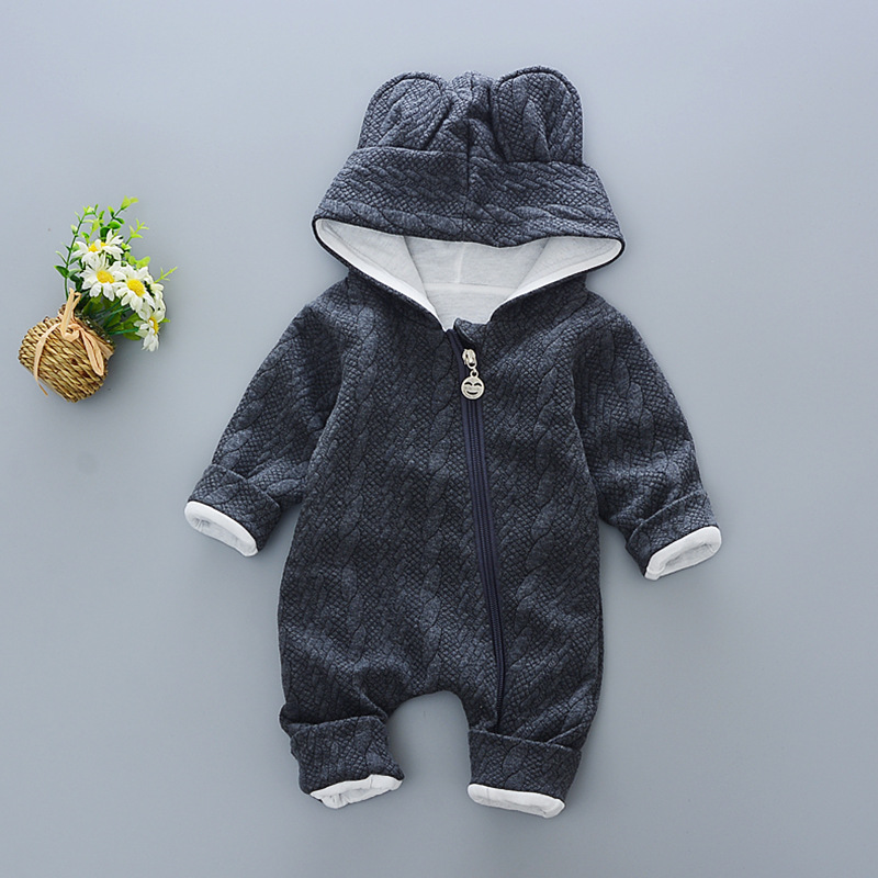 Baby Rompers winter Cute Rabbit Hooded Long Sleeve toddler Jumpsuits Ba