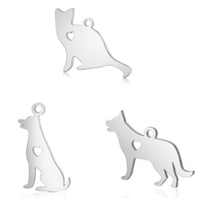 10pcs 316L Stainless Steel Double Side Polished Lovely Dog Cat Animal Charm Pendant Fit DIY Initial Chain Necklace Jewelry Craft