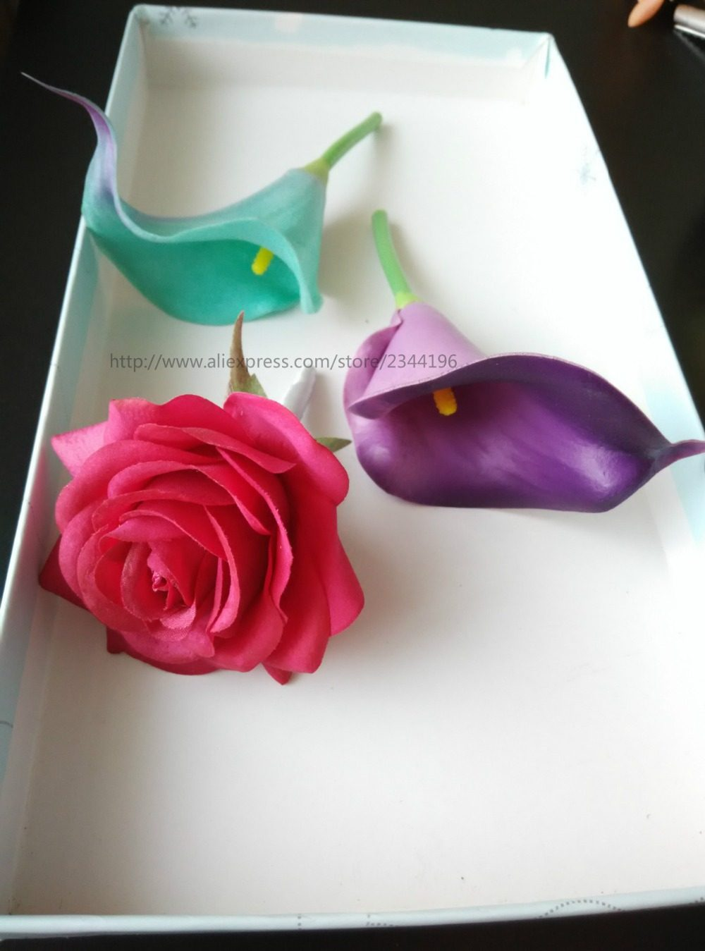 Online Shop Artificial Shocking Pink Rose Boutonnieres Tied With