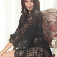 Womens Sexy See Through Lace Sleepwear Robes Lingerie Pajamas Nightgown Bathrobe Free Drop Shipping