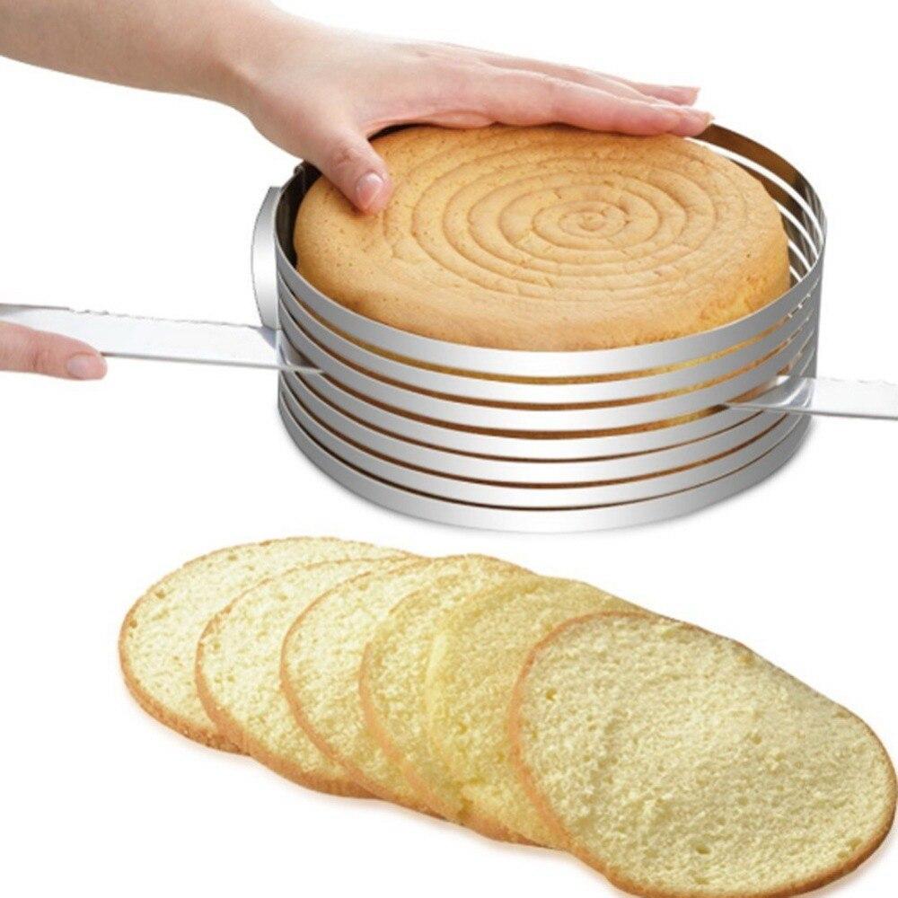 Hot Edelstahl Kuchen Cutter Slicer Einstellbare Runde Brot Kuchen Cutter Slicer Kuchen Ring Form DIY Backen Küche Werkzeuge Küche