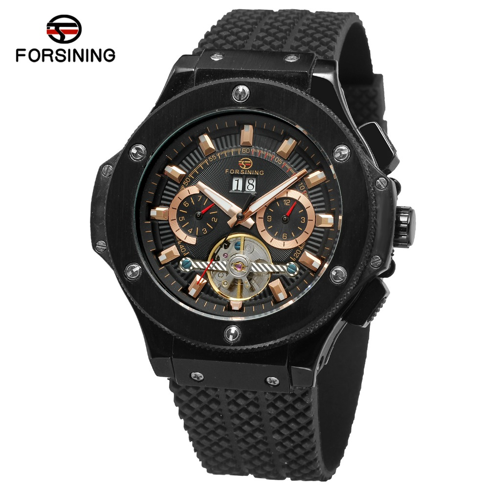 FORSINING New Arrival Men's Luxury Automatic Movement Tourbillon Calendar Watch with Rubber Band Quality Black Clock FSG228M3 ultra luxury 2 3 5 modes german motor watch winder white color wooden black pu leater inside automatic watch winder