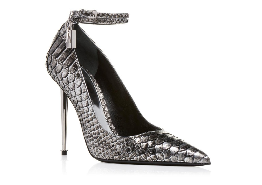Grey Crocodile Pattern Stiletto High Heel Mary Janes Ankle Lock Pointed Toe Leather Dress Shoes