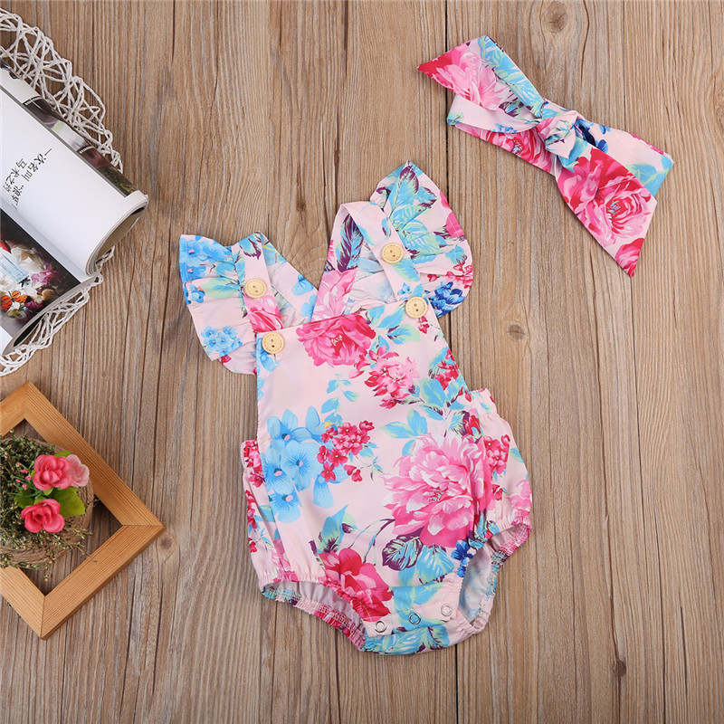 Pudcoco Newest Fashion Newborn Baby Girl Clothes Flower Print Sleeveless Bodysuit Jumpsuit Headband 2Pcs Outfits Cotton Clothes