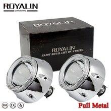 ROYALIN Металлическая Автомобильная фара 3,0 дюйма, проектор, би ксенон, объектив H1, 95 мм, Белый светодиодный, ангельский глаз, DRL для H4 H7, автомобильная лампа для модернизации