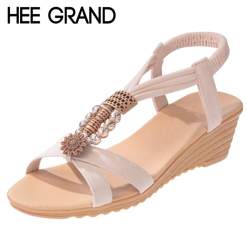HEE GRAND Women Sandals 2018 Summer New Vintage Style Gladiator Platform Wedges Beach Shoes Woman Bohemia Sandal XWZ4605 gladiator sandals 2017 summer style comfort flats casual creepers platform pu shoes woman casual beach black sandals plus us 8