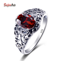 Szjinao Fashion Sterling Silver Jewelry Big Rings Shimmering Vintage Garnet Rose 925 Silver Rings for Women Fashion Jewelry