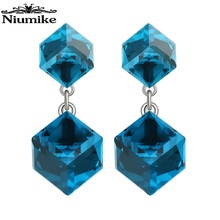 Niumike Embellished with crystals from Swarovski Stud Earrings Women Earrings Cubic Crystal Stud Fashion Cute Dangle  Earrings недорого