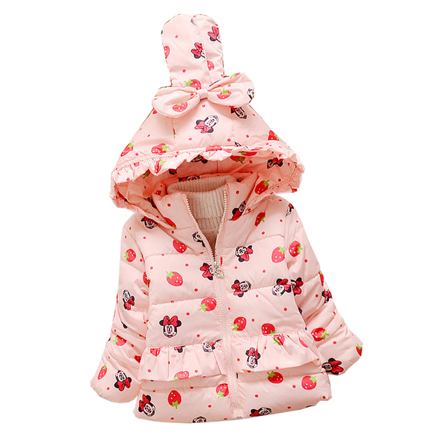 Bebé niña abrigos y chaquetas de Otoño invierno de los niños ropa para niños niñas de dibujos animados de Impresión espesar Cálido abrigo prendas de vestir exteriores de ropa