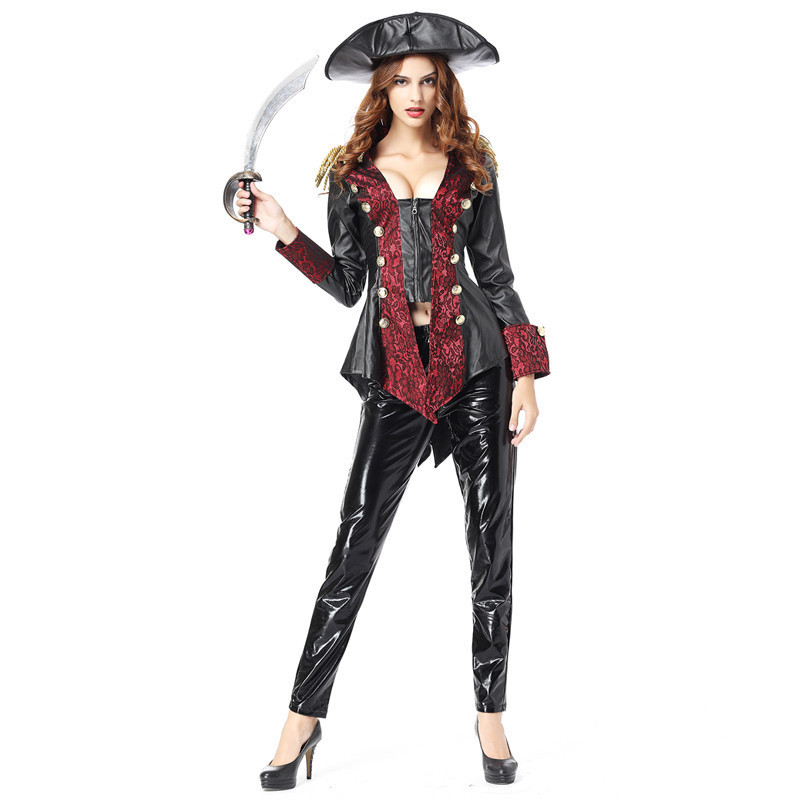 Deluxe Adult Women Jack Sparrow Pirate Costume Cosplay Outfit Sexy Long Sleeve Faux Leather Jacket Top + Pants + Pirate Hat Set