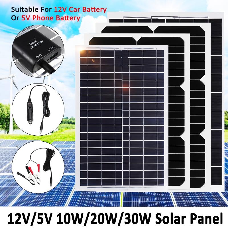 все цены на 30W 20W 10W Solar Panel Plate 12V/5V Flexible Solar Charger For Car Battery 12V 5V Phone Battery Sunpower Monocrystalline Cells