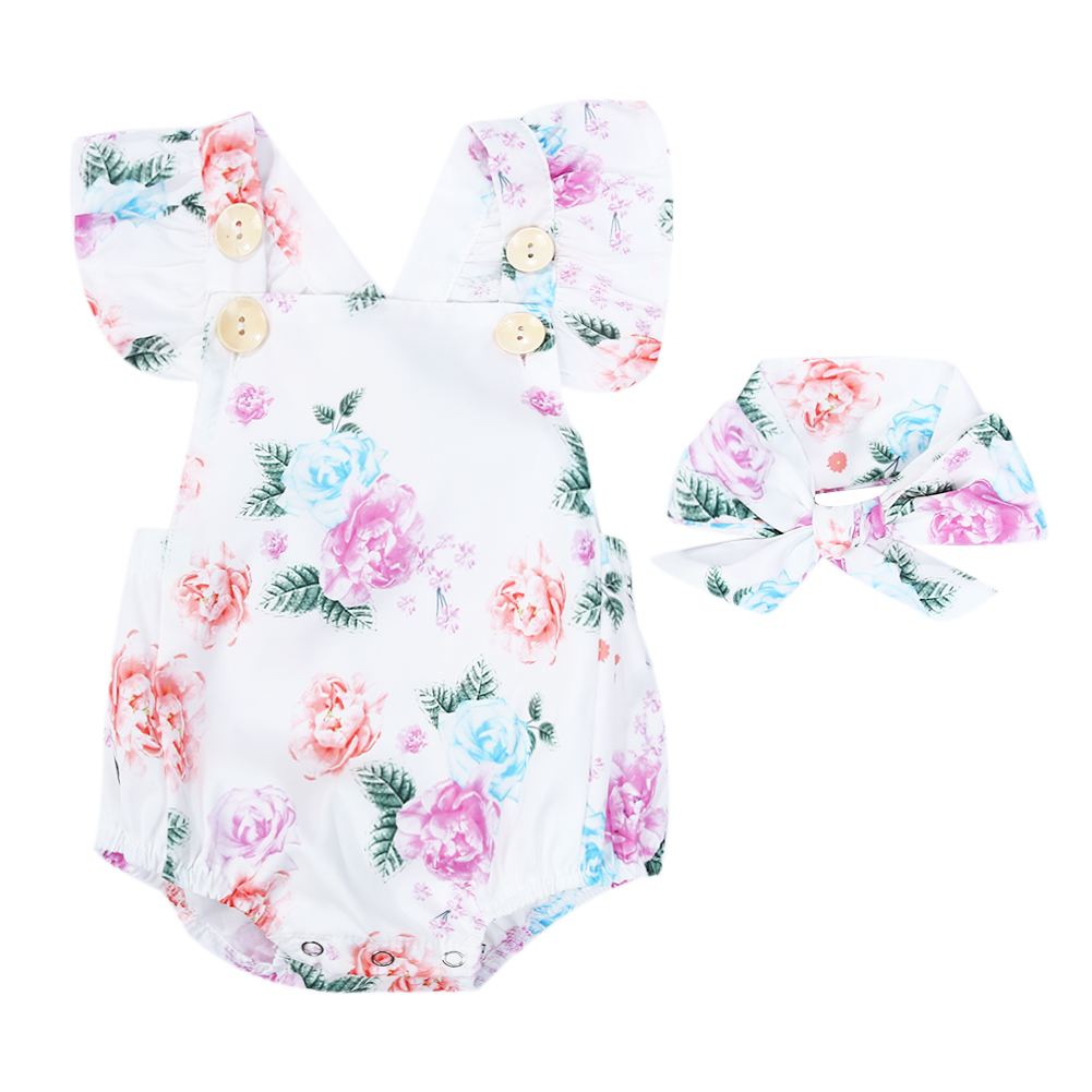 Soft Baby   Rompers   Clothes Set 2pcs Kids Baby Girls Sleeveless Floral Printed   Romper   Jumpsuit+Headband Infant Girl Outfits Sets