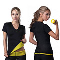Neoprene Hot Shapers Do Corpo T-Shirt de Manga Curta, sauna Neoprene Trecho Tops de Perder Peso