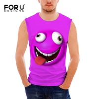 FORUDESIGNS Sleeveless Fitness Men Tank Tops 3D Smiling Emoji Face Design Clothes Man Bodybuilding Summer Vests