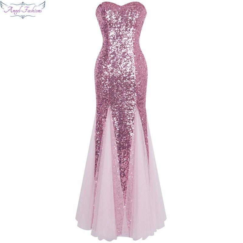 Angel-fashions Off the Shoulder Vintage Sequined Tulle Long Evening Dresses abendkleider 053