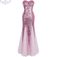 Angel fashions Off the Shoulder Vintage Sequined Tulle Long Evening Dresses abendkleider 053