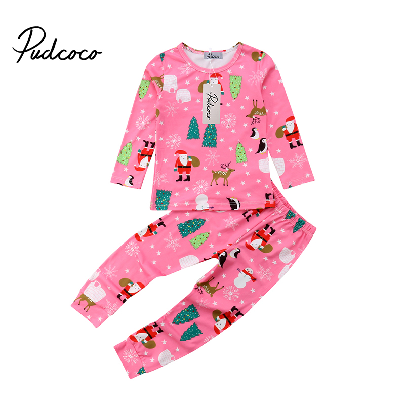 New Kids Baby Girl Christmas   Pajama     Sets   Xmas Cute Long Sleeve Santa Claus Tree Print Top Pants Outfit   Set   Clothes 2pcs