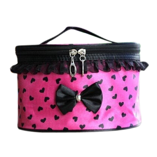Wholesale 5* ( Women Cosmetic Bag Travel Makeup Make up Storage Organizer Box Beauty Case-Rose Red + Black Heart