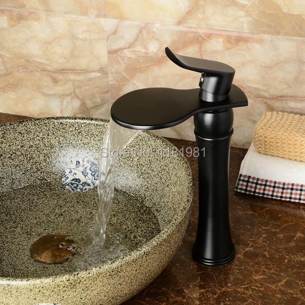 Newly Blackened Bathroom Basin Faucet Art Contemporary Brass Mixer Tap Waterfall Faucet B104 women canvas stripe shoulder bags casual capcity multifunction backpack students school bags