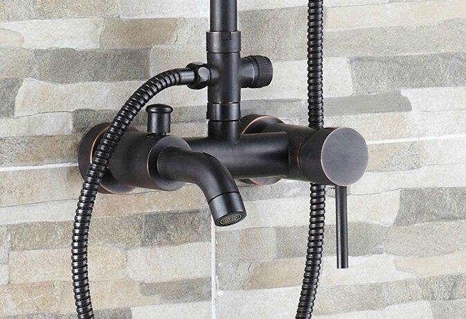 Черный масло натертый латунь одиночный ручка ванная 8 дюйм круглый дождь душ смеситель набор ванна ванна смеситель кран рука душ mrs320