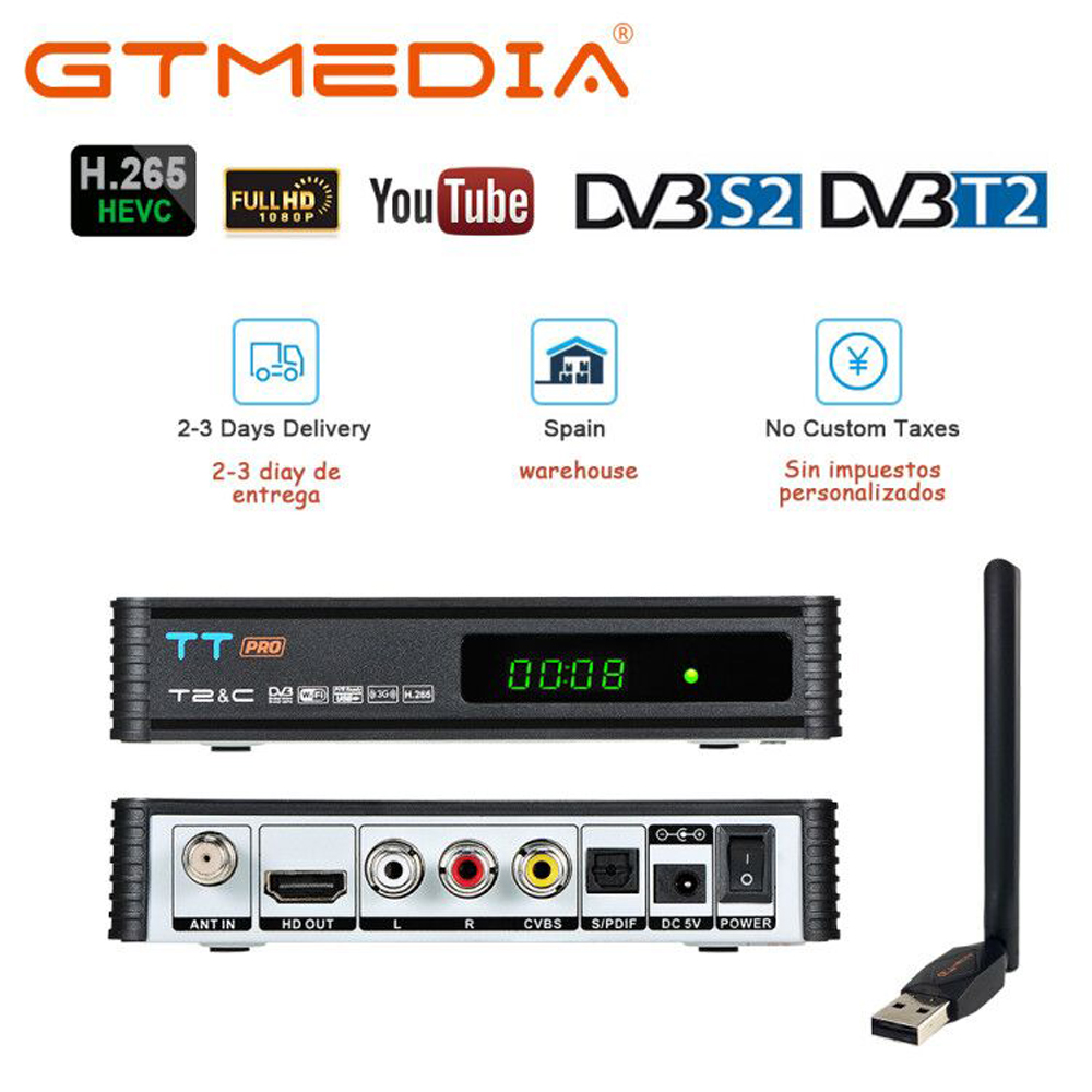 GTMEDIA TT Pro DVB-T2 DVB-C Satellite TV Combo Receiver Support H.265 HD 1080P + 1 Year CCCAM for Spain Poland Germany Itlay image