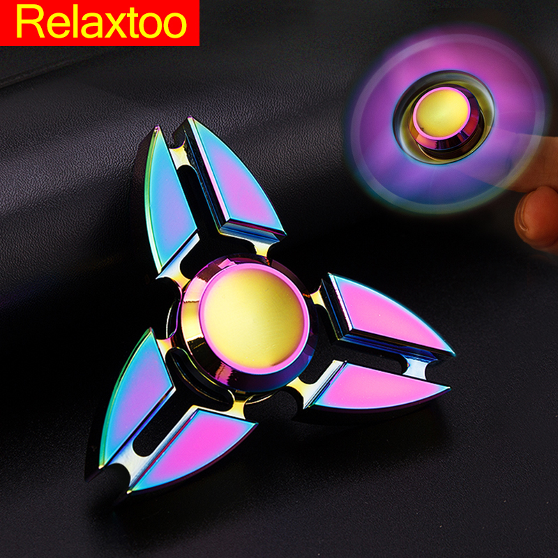 Newest Rainbow Hand Fidget Spinner EDC Relieve Stress Metal Finger Spinner Toy Multicolor Tri spinner Adult