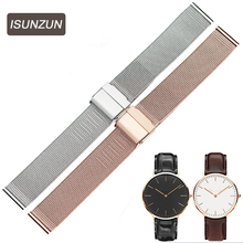 ISUNZUN 14mm 18mm 20mm Stainless Steel Watchband Watch Strap for DW Daniel Wellington Mesh Stainless Steel Strap Bracelet for DW цена