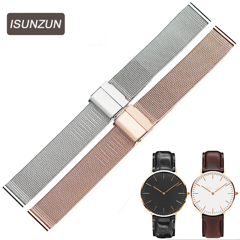 ISUNZUN 14mm 18mm 20mm Stainless Steel Watchband Watch Strap for DW Daniel Wellington Mesh Stainless Steel Strap Bracelet for DW ...